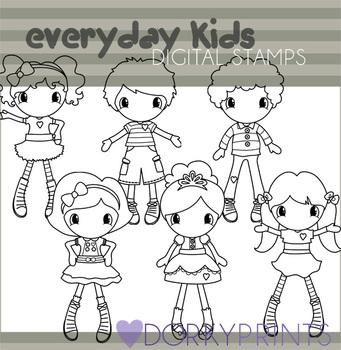 Cute Kids Black Line Clip Art