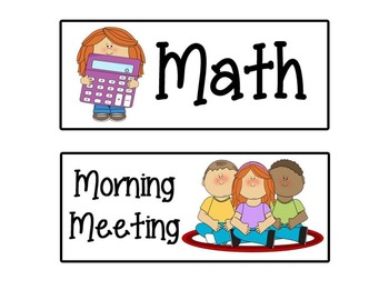 Cute Kids Class Schedule Cards
