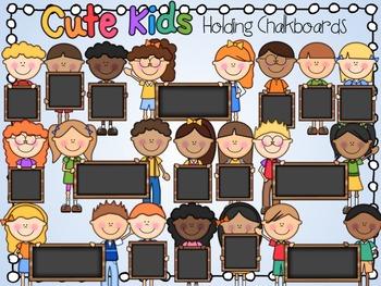 Cute Kids Holding Chalkboards