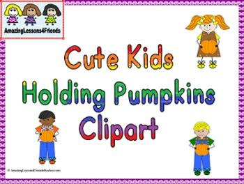 Cute Kids Holding Pumpkins Clipart