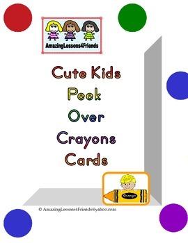 Cute Kids Peek Over Crayon Cards