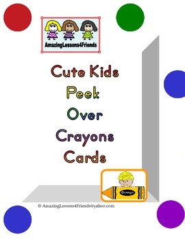 Cute Kids Peek Over Crayon Cards