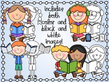 Cute Kids Reading Clipart