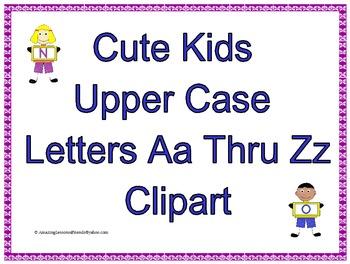 Cute Kids Upper Case Clipart Letters Aa thru Zz