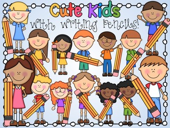 Cute Kids With Writing Pencils