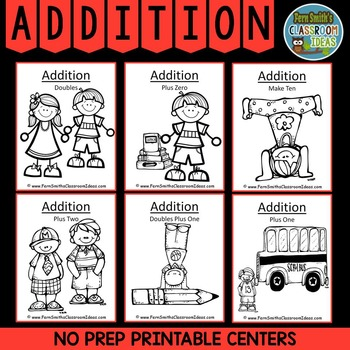Printable Addition Center Games - Six Strategy Based Math Center Games