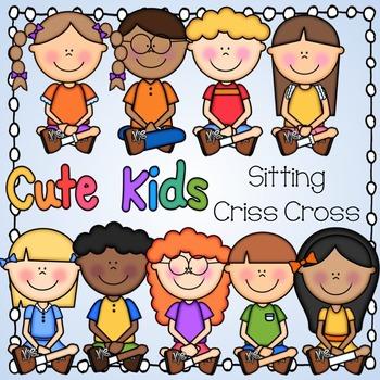 Cross cute. Kids sitting criss
