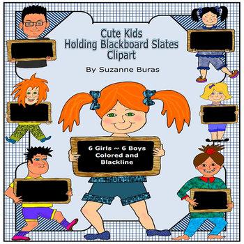 Cute Kids with Blackboard Slates Clipart
