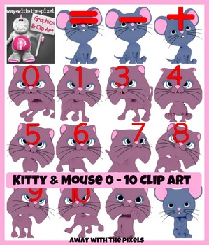 Cute Kitten Numbers 1 - 10 and Symbols Clip Art