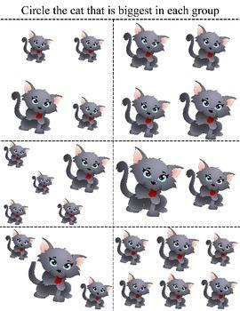 Cute Kitten size comparison worksheet