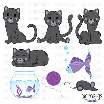 Cute Kitty Clipart Set, Cute Kitties, Cat Clipart, Kitten Graphics