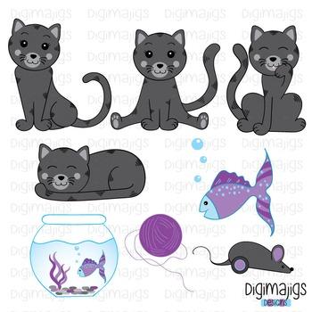 Cute Kitty Clipart Set, Cute Kitties, Cat Clipart, Kitten