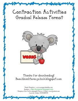 Cute Koala Contractions - Gradual Release Template