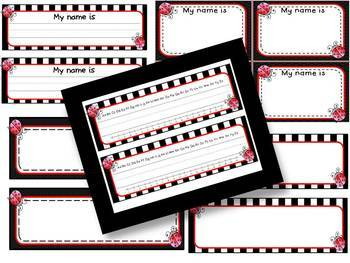 Cute Ladybug Theme Editable Nameplates & Name Tags Set