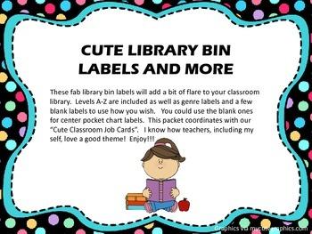 Cute Library Bin Labels -Pre-made and Blank - (Polka Dot Theme)