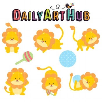 Cute Lion Cubs Clip Art - Great for Art Class Projects!