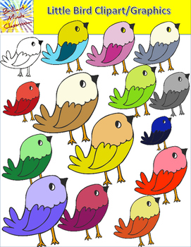 14 Cute Little Bird Clipart Graphics Rainbow of Colors