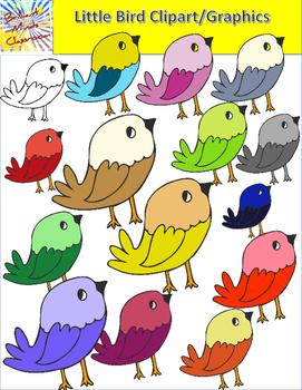 14 Cute Little Bird Clipart Graphics Rainbow of Colors