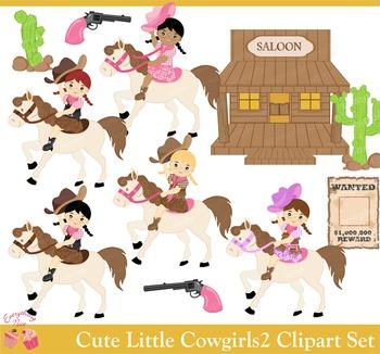 Cute Little Cowgirls Cow Girls 2 Clipart Set