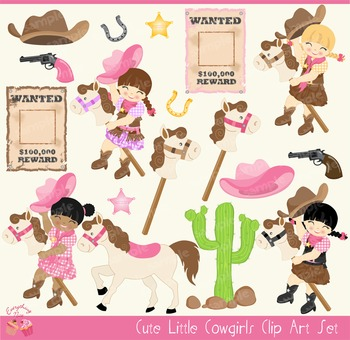 Cute Little Cowgirls Cow Girls Clipart Set