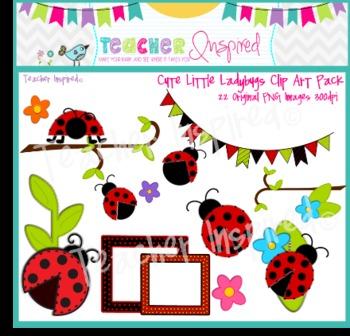 Cute Little Ladybugs Clipart Pack