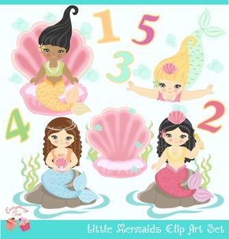Cute Little Mermaids in Soft Colors Clip Art Set