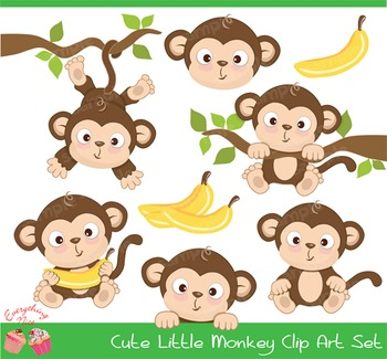 Cute Little Monkey Clipart Set