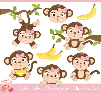 Cute Little Monkey Girl Clipart Set
