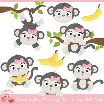 Cute Little Gray Monkey Girl Clipart Set