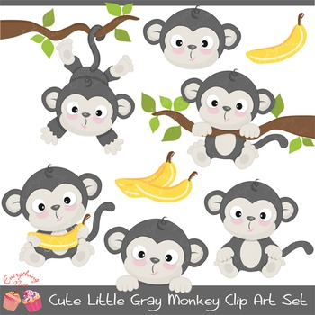 Cute Little Monkey Gray Clipart Set