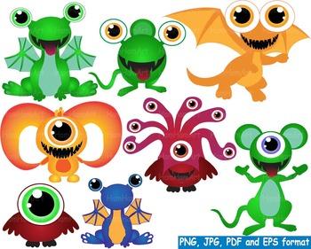Cute Monster Elien Clip Art DIY Birthday community animals Dinosaur dino -144