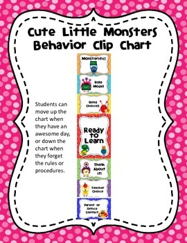 Cute Little Monsters Behavior Clip Chart