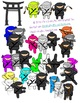 Cute Little Ninjas Clip Art Set with Blacklines