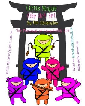 Cute Little Ninjas Clip Art Set with Blacklines