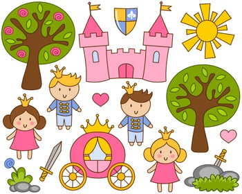 Cute Little Princess And Prince Clip Art, Pink Castle Clipart, Trees, Sword
