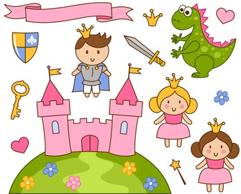 Cute Little Princess And Prince Clip Art, Pink Castle, Dragon, Crown, Sword