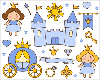 Cute Little Princess Clip Art, Blue Princess Clipart, Castle, Crown