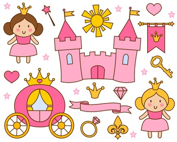 Cute Little Princess Clip Art, Pink Princess Clipart, Castle, Crown