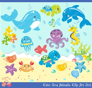 Cute Little Sea Animals Boy Clip Art Set