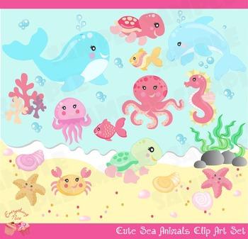 Cute Little Sea Animals Girl Clip Art Set