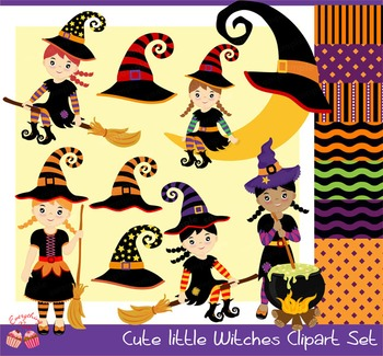 Halloween Cute Little Witches Clipart