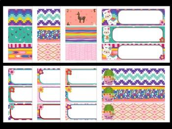 Cute Llamas Cactus Editable Labels   Name Tags   Mailbox   Sterilite Drawer