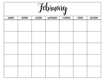 Cute Black and White Low-Ink Calendar