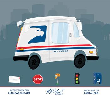 Cute Mail Car Digital Clip Art - Digital File - Cartoon Style Mail Truck Clipart
