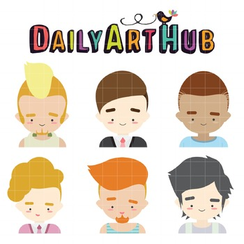 Cute Male Character Faces Clip Art - Great for Art Class Projects!
