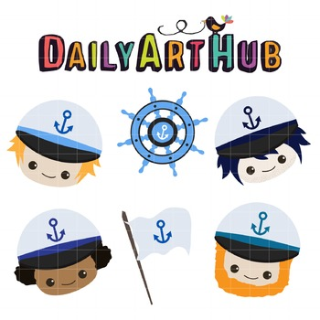 Cute Marine Heads Clip Art - Great for Art Class Projects!