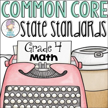 Grade 4 Math Common Core Standards Checklist for Fourth Grade