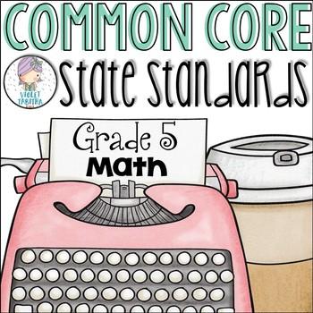 Grade 5 Math Common Core Standards Checklist for Fifth Grade