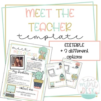 Cute Meet The Teacher Templates Editable 3 Different Styles By