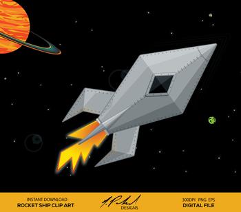 Cute Metal Rocket Ship Digital Clip Art - Digital File - Space Rocket Clipart